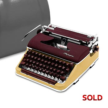 Burgundy/Cream 1958 Olympia SM3 De Luxe Manual Typewriter with Case (11 characters/inch) #1002