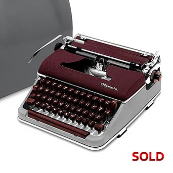 Burgundy/Gray 1959 Olympia SM3 De Luxe Manual Typewriter with Case (10 characters/inch) #1009