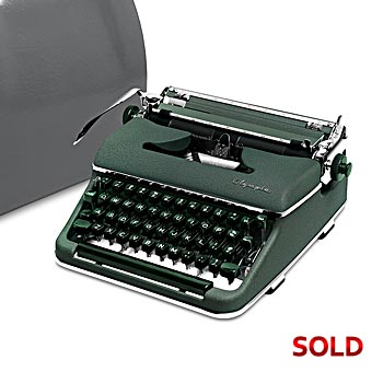 Green 1958 Olympia SM3 De Luxe Manual Typewriter with Case (10 characters/inch Bold Font) #1010