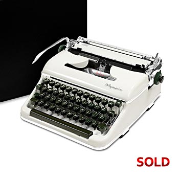 Glossy-White 1958 Olympia SM3 De Luxe Manual Typewriter with Case (10 characters/inch) #1015
