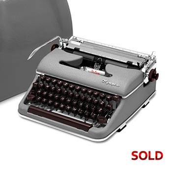 Gray 1958 Olympia SM3 De Luxe Manual Typewriter with Case (11 characters/inch) #1019