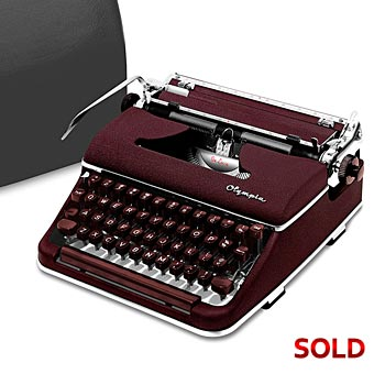 Burgundy 1958 Olympia SM3 De Luxe Manual Typewriter with Case (11 characters/inch) #1021