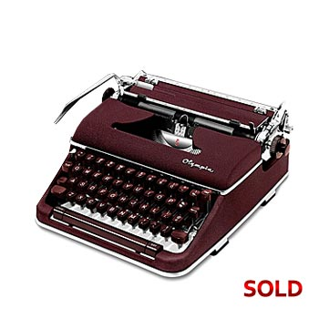 Burgundy 1961 Olympia SM4 Manual Typewriter with Case (Bold 11 characters/inch Font) #1030