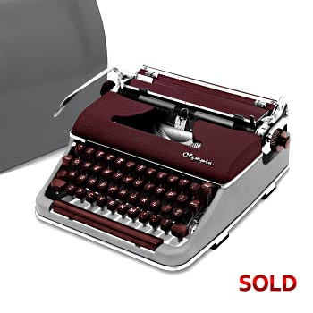 Burgundy/Gray 1956 Olympia SM3 De Luxe Math/Scientific Manual Typewriter with Case (10 characters/inch) #1033