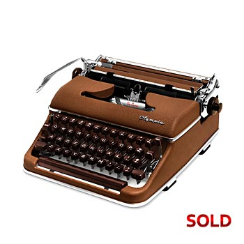 Brown 1958 Olympia SM3 De Luxe Manual Typewriter with Case (Cursive/Script) #1034