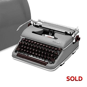 Gray 1958 Olympia SM3 De Luxe Manual Typewriter with Case (11 characters/inch) #1043