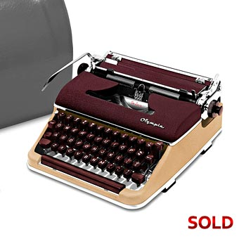 Burgundy/Cream 1957 Olympia SM3 De Luxe Manual Typewriter with Case (10 characters/inch) #1049