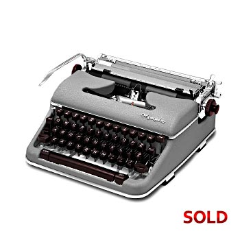 Gray 1960 Olympia SM4 (Signature) Manual Typewriter with Case (11 characters/inch) #1056
