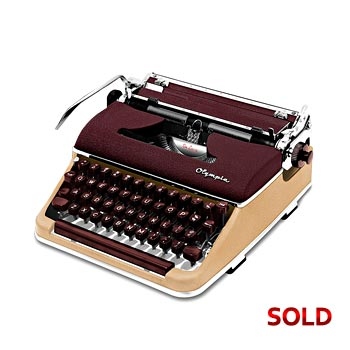 Burgundy/Cream 1958 Olympia SM3 De Luxe Manual Typewriter with Case (10 characters/inch) #1057