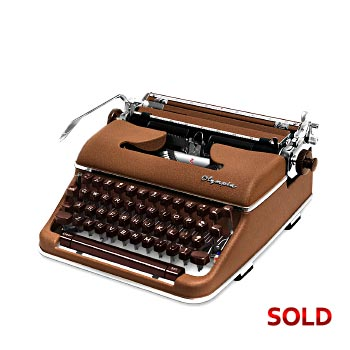Brown 1960 Olympia SM4 Manual Typewriter with Case #1092