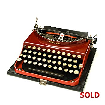 1931 Remington Portable Model #3 Red / Maroon Manual Typewriter with Case