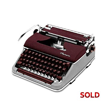 Burgundy/Gray 1958 Olympia SM3 De Luxe Manual Typewriter with Case (11 characters/inch) #1115