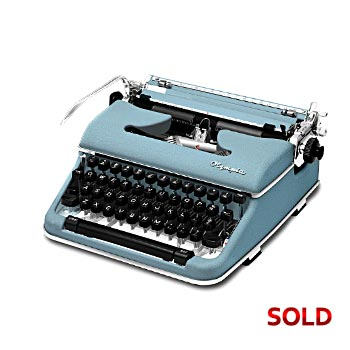 Blue 1960 Olympia SM4 Manual Typewriter with Case (Pica 10 characters/inch) #1118