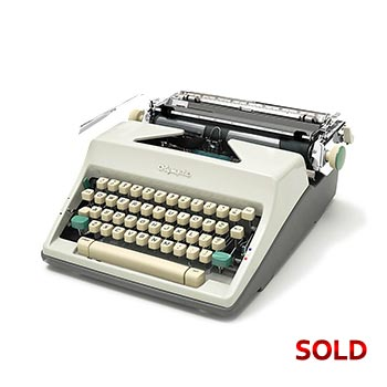 White 1965 Olympia SM9 Manual Typewriter with Case (Pica 10 characters/inch)