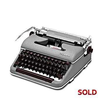 Gray 1958 Olympia SM3 De Luxe Manual Typewriter with Case (Elite 11 characters/inch) #1141