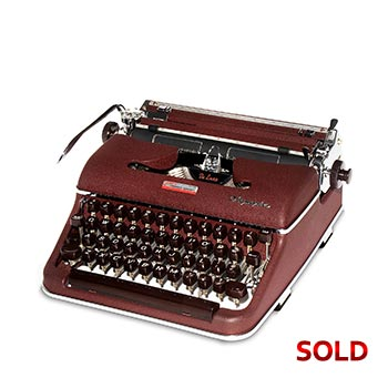Burgundy 1958 Olympia SM3 De Luxe Manual Typewriter with Case (Pica 10 characters/inch) #1148