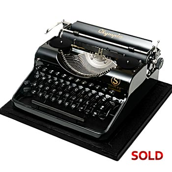 Glossy-Black 1937 Olympia Simplex Antique Manual Typewriter with Case