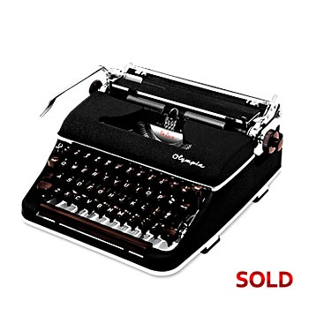 Black 1958 Olympia SM3 De Luxe (Italic Font) Manual Typewriter with Case