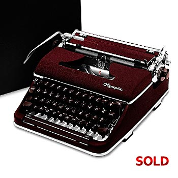 Burgundy 1960 Olympia SM4 S Manual Typewriter with Case