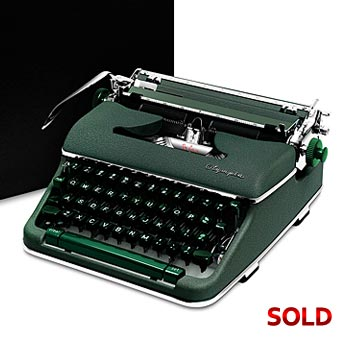 Green 1961 Olympia SM4 De Luxe Manual Typewriter with Case (Cursive/Script Font)