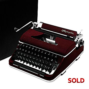 Burgundy 1951 Olympia SM2 Manual Typewriter with Case (11 characters/inch)