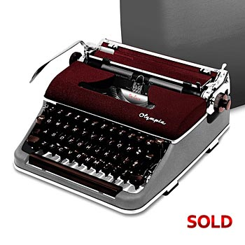 Burgundy / Gray 1957 Olympia SM3 De Luxe Manual Typewriter with Case (10 characters/inch)