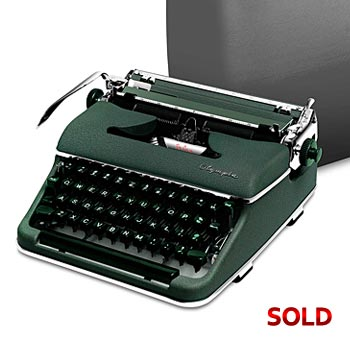 Green 1959 Olympia SM3 De Luxe Manual Typewriter with Case (Sans-Serif Font)