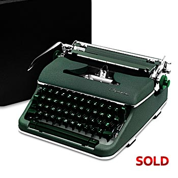 Green 1959 Olympia SM4 S Manual Typewriter with Case (Italic Font Style)