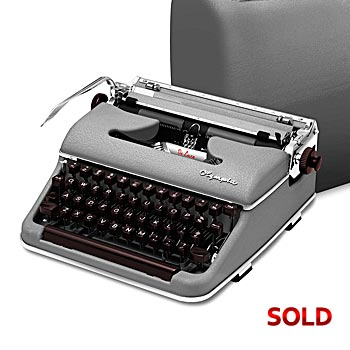 Gray 1958 Olympia SM3 De Luxe Manual Typewriter with Case (11 characters/inch)