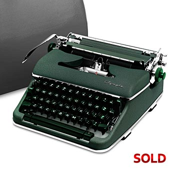 Green 1959 Olympia SM4 S Manual Typewriter with Case (Bold Font Style)