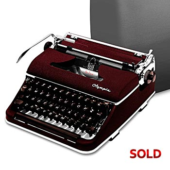 Burgundy 1958 Olympia SM3 De Luxe Manual Typewriter with Case (11 characters/inch)