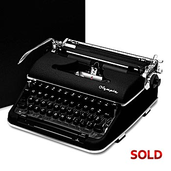 Black 1960 Olympia SM4 S Manual Typewriter with Case (Cursive/Script Font)