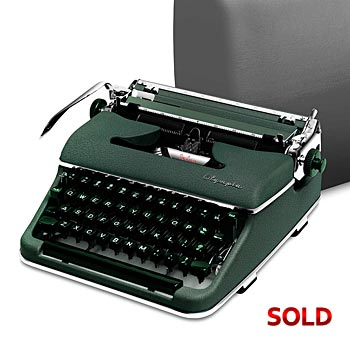 Green 1957 Olympia SM3 De Luxe Manual Typewriter with Case (11 characters/inch)