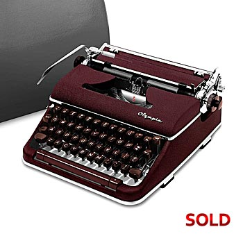 Burgundy 1959 Olympia SM4 S Manual Typewriter with Case (11 characters/inch) #972