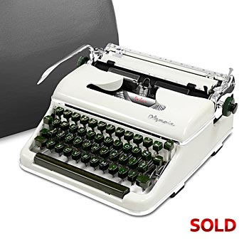 Glossy-White 1959 Olympia SM3 De Luxe Manual Typewriter with Case (11 characters/inch) #977