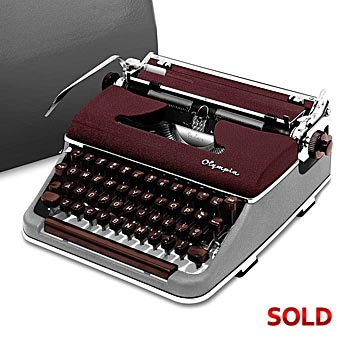 Burgundy/Gray 1958 Olympia SM3 De Luxe Manual Typewriter with Case (10 characters/inch) #978