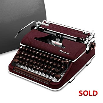 Burgundy 1955 Olympia SM3 De Luxe Manual Typewriter with Case (11 characters/inch Bold Font) #982