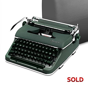 Green 1955 Olympia SM3 De Luxe Manual Typewriter with Case #983