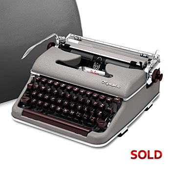 Stone-Gray 1956 Olympia SM3 De Luxe Manual Typewriter with Case (11 characters/inch) #991