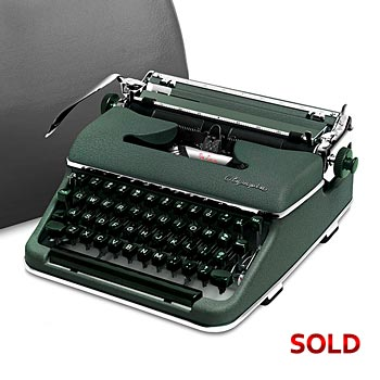Green 1957 Olympia SM3 De Luxe Manual Typewriter with Case (11 characters/inch Bold Font) #993