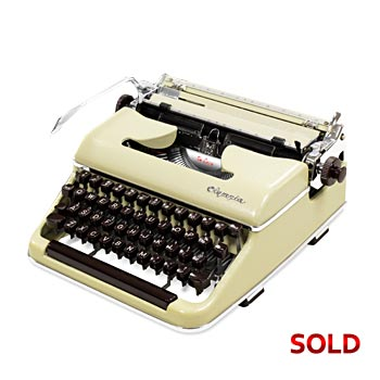 Glossy Yellow/Lime 1960 Olympia SM3 De Luxe Manual Typewriter with Case (Cursive/Script) #997